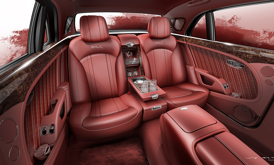 The luxurious interior of the W.O. Bentley Mulsanne finished in a red glossy hide