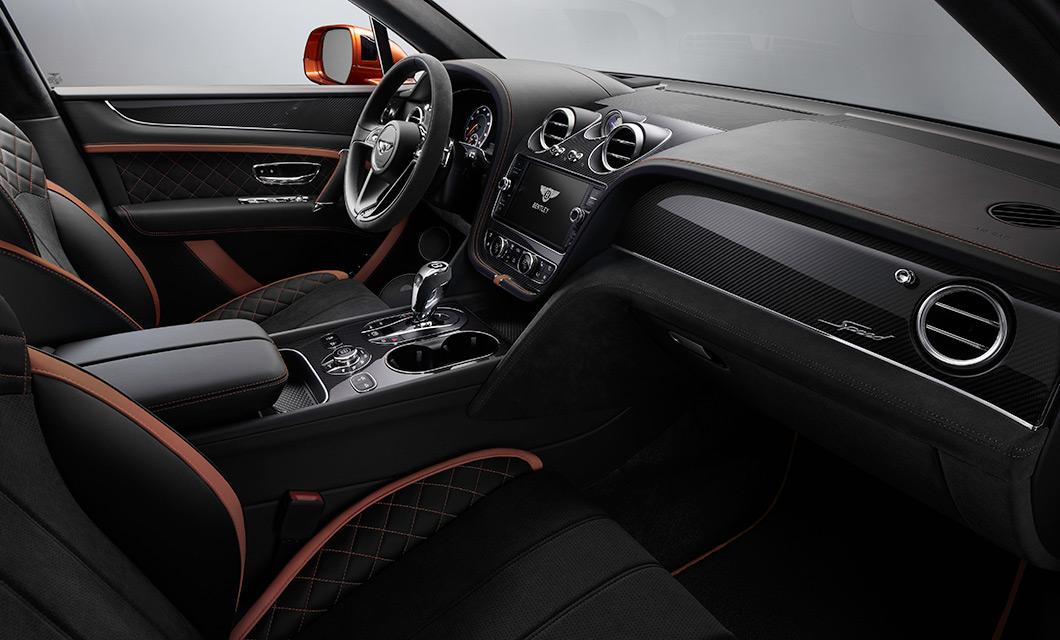 The modern interior of the Bentley Bentayga Speed