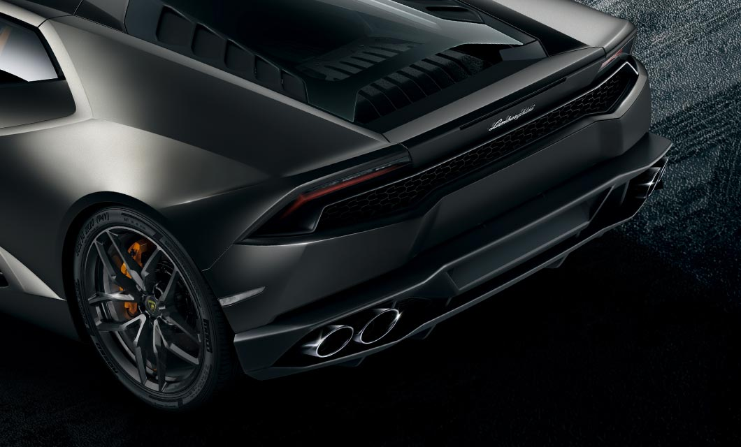 A rear shot highlighting the exhaust tips of the Lamborghini Huracan